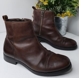 Zara Man Zip Brown/Black Leather Ankle Boots Sz 9